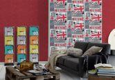 A.S. Création paper behang Boys & Girls 5 blauw, grijs, rood