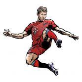 Wandsticker FC Bayern Comic Spieler Thomas Müller