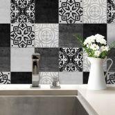 Adesivi perpiastrelle - Patchwork nero e bianco