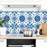 Fliesenaufkleber Watercolor Blume - Blau - 12er Set