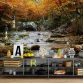 Fototapete - Autumn Waterfall - 240x260 cm
