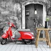 Fotobehang Rode Scooter - zwart wit
