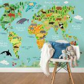 Photo wallpaper – Kids World Map Animals
