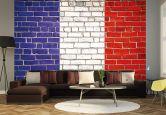 Fototapete Vliestapete Französische Flagge Maueroptik (Rolle)