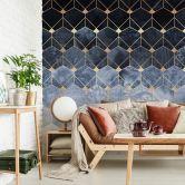 Fototapete Fredriksson - Hexagone: Blau und Gold