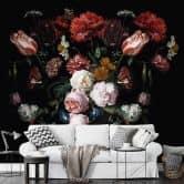 Fototapete Heem - Stillleben mit Blumen in einer Glasvase - Querformat