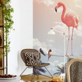 Photo Wallpaper Loose - Flamingo and Friends