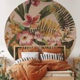 Fototapete Tropische Blüten - Rund
