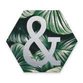 Hexagon - Alu-Dibond Silbereffekt - Urban Jungle Et-Zeichen 01