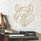 Holzkunst Pappel -  Origami Wolf