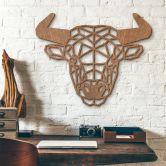 Décoration murale en bois acajou - Taureau origami