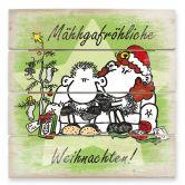 Holzbild sheepworld Mähhgafröhliche Weihnachten!