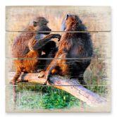 Holzbild Affenbande