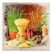 Holzbild Italienisch Kochen