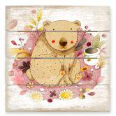Holzbild Loske - Bär mit Honigtopf
