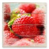 Holzbild Erdbeeren aus dem Garten