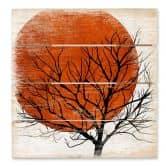 Holzbild Kubistika - Warmer Sonnenuntergang