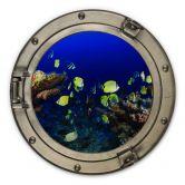 Holzbild 3D-Optik Bullauge - Bunte Unterwasserwelt - neongelbe Fische - Rund