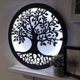 LED-Leuchtdeko aus MDF - Baum mit Wurzeln