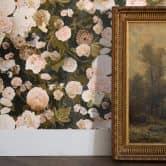 Livingwalls Vliestapete Paradise Garden Tapete mit Rosen floral schwarz, rosa, grün