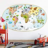 Muursticker Michel Agullo - Kinder Wereldkaart