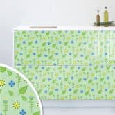 Möbelfolie, Dekofolie - abwischbar - Floral Grün