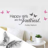 Wandtattoo Happy girls are... + 3D Deko-Schmetterlinge mit Tesa-Tack (4-teilig)