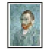 Poster mit Bilderrahmen Pixelart - van Gogh - Selbstbildnis 1889