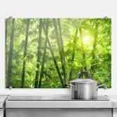 Spatscherm Zonneschijn in een Bamboebos