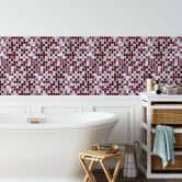 3D Fliesenaufkleber Mosaikmuster Bordeauxrot - 4er Set je 25,4 x 25,4 cm