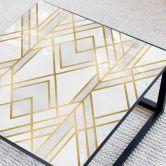 Tischplatte aus Glas - Fredriksson - Art-Deco: Goldene Geometrie - Quadratisch - 60x60 cm