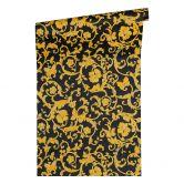 Versace wallpaper Tapete Butterfly Barocco gelb, metallic, schwarz