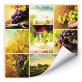 Wallprint W - Wein Collage- quadratisch