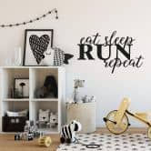 Adesivo murale - Eat Sleep Run Repeat