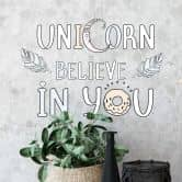 Wandtattoo Kvilis - Schriftzug Unicorn Believe in You