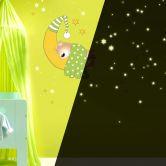 Wandtattoo Bärchen, Mond und Sterne (grün) + Leuchtsterne