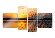 Glass Prints - Sunset by the lake (4 parts) Glass art