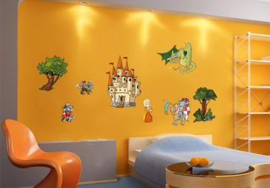 Muurstickers baby kinderen ridders draken shop wall - Ritter wandtattoo ...