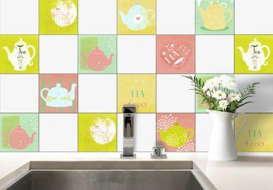 Negozio online di adesivi da parete per la cucina wall - Wandfliesen uberkleben ...