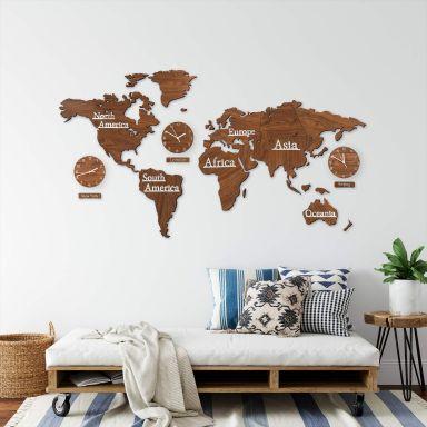 3D Holz Weltkarte mit 3 Uhren Braun - 115x65 cm