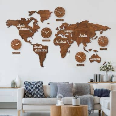 3D Wooden World Map with Clocks - brown 180x110 cm
