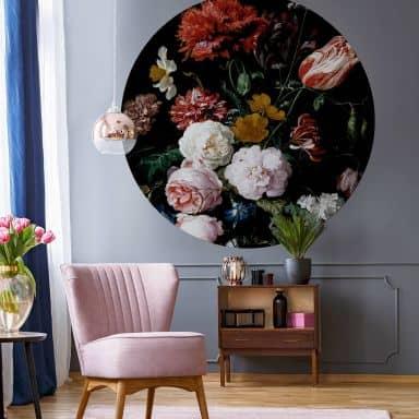 Papier peint photo Heem - Nature morte dans un vase - Rond
