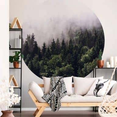 Papier peint photo Forêt dans la brume - Rond