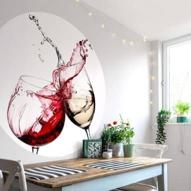Papier peint photo Verres de vin - Rond