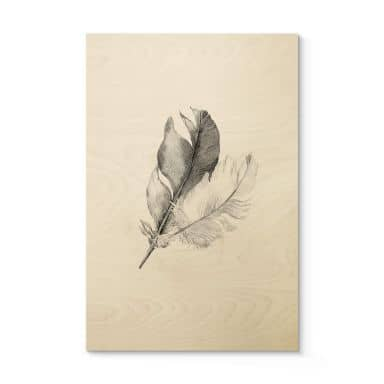 Houten Poster Feathers