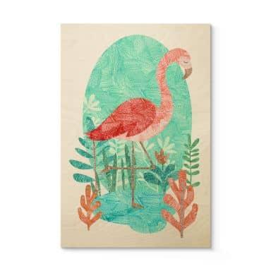 Holzposter Goed Blauw - Der Flamingo
