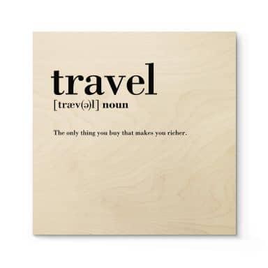 Tableau sur bois Définition - Travel - Carré
