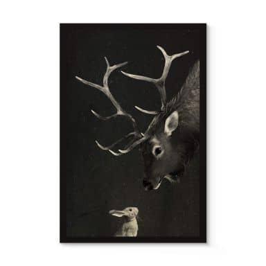Houten Poster Graves - Deer and Rabbit