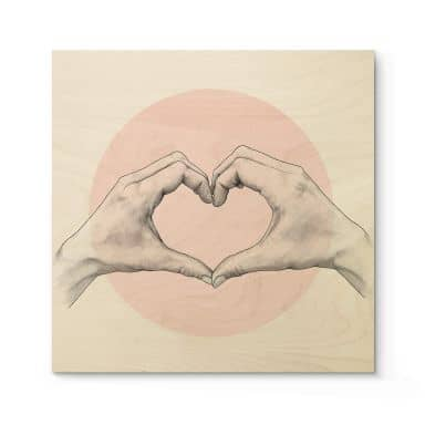 Holzbild Graves - Heart in Hand - Quadratisch