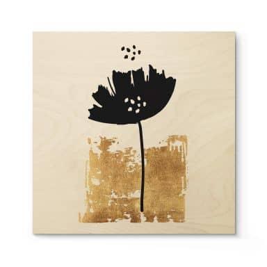 Holzbild Kubistika - Schwarze Blume - Quadratisch